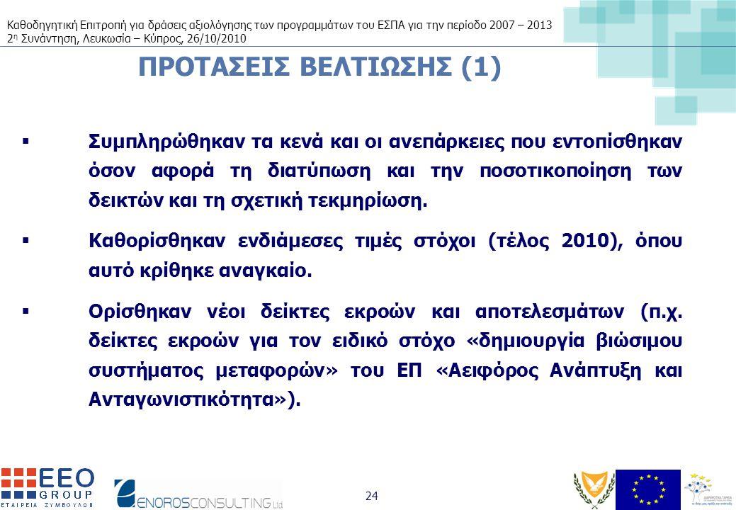 Καθοδηγητική Επιτροπή για δράσεις αξιολόγησης των προγραμμάτων του ΕΣΠΑ για την περίοδο 2007 – 2013 2 η Συνάντηση, Λευκωσία – Κύπρος, 26/10/2010 24 ΠΡΟΤΑΣΕΙΣ ΒΕΛΤΙΩΣΗΣ (1)  Συμπληρώθηκαν τα κενά και οι ανεπάρκειες που εντοπίσθηκαν όσον αφορά τη διατύπωση και την ποσοτικοποίηση των δεικτών και τη σχετική τεκμηρίωση.