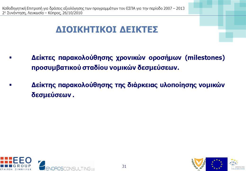 Καθοδηγητική Επιτροπή για δράσεις αξιολόγησης των προγραμμάτων του ΕΣΠΑ για την περίοδο 2007 – 2013 2 η Συνάντηση, Λευκωσία – Κύπρος, 26/10/2010 31 ΔΙΟΙΚΗΤΙΚΟΙ ΔΕΙΚΤΕΣ  Δείκτες παρακολούθησης χρονικών οροσήμων (milestones) προσυμβατικού σταδίου νομικών δεσμεύσεων.