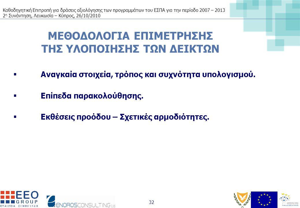 Καθοδηγητική Επιτροπή για δράσεις αξιολόγησης των προγραμμάτων του ΕΣΠΑ για την περίοδο 2007 – 2013 2 η Συνάντηση, Λευκωσία – Κύπρος, 26/10/2010 32 ΜΕΘΟΔΟΛΟΓΙΑ ΕΠΙΜΕΤΡΗΣΗΣ ΤΗΣ ΥΛΟΠΟΙΗΣΗΣ ΤΩΝ ΔΕΙΚΤΩΝ  Αναγκαία στοιχεία, τρόπος και συχνότητα υπολογισμού.
