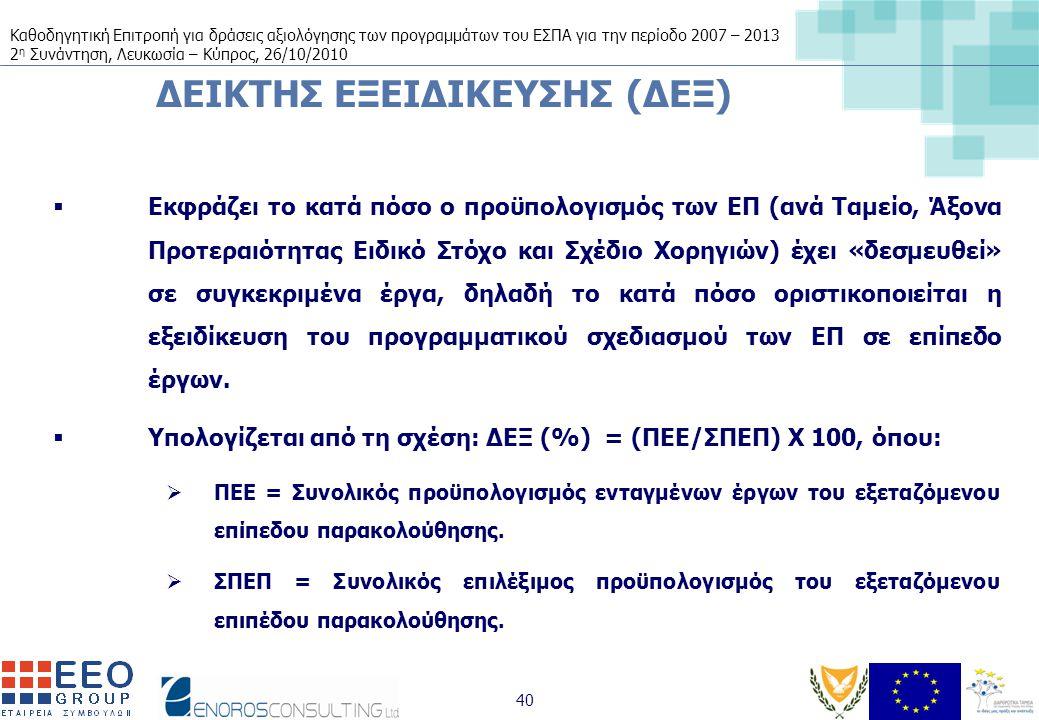 Καθοδηγητική Επιτροπή για δράσεις αξιολόγησης των προγραμμάτων του ΕΣΠΑ για την περίοδο 2007 – 2013 2 η Συνάντηση, Λευκωσία – Κύπρος, 26/10/2010 40 ΔΕΙΚΤΗΣ ΕΞΕΙΔΙΚΕΥΣΗΣ (ΔΕΞ)  Εκφράζει το κατά πόσο ο προϋπολογισμός των ΕΠ (ανά Ταμείο, Άξονα Προτεραιότητας Ειδικό Στόχο και Σχέδιο Χορηγιών) έχει «δεσμευθεί» σε συγκεκριμένα έργα, δηλαδή το κατά πόσο οριστικοποιείται η εξειδίκευση του προγραμματικού σχεδιασμού των ΕΠ σε επίπεδο έργων.