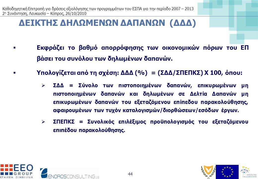 Καθοδηγητική Επιτροπή για δράσεις αξιολόγησης των προγραμμάτων του ΕΣΠΑ για την περίοδο 2007 – 2013 2 η Συνάντηση, Λευκωσία – Κύπρος, 26/10/2010 44 ΔΕΙΚΤΗΣ ΔΗΛΩΜΕΝΩΝ ΔΑΠΑΝΩΝ (ΔΔΔ)  Εκφράζει το βαθμό απορρόφησης των οικονομικών πόρων του ΕΠ βάσει του συνόλου των δηλωμένων δαπανών.
