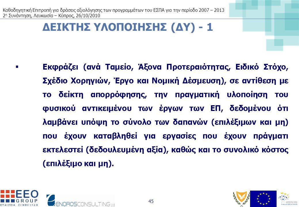 Καθοδηγητική Επιτροπή για δράσεις αξιολόγησης των προγραμμάτων του ΕΣΠΑ για την περίοδο 2007 – 2013 2 η Συνάντηση, Λευκωσία – Κύπρος, 26/10/2010 45 ΔΕΙΚΤΗΣ ΥΛΟΠΟΙΗΣΗΣ (ΔΥ) - 1  Εκφράζει (ανά Ταμείο, Άξονα Προτεραιότητας, Ειδικό Στόχο, Σχέδιο Χορηγιών, Έργο και Νομική Δέσμευση), σε αντίθεση με το δείκτη απορρόφησης, την πραγματική υλοποίηση του φυσικού αντικειμένου των έργων των ΕΠ, δεδομένου ότι λαμβάνει υπόψη το σύνολο των δαπανών (επιλέξιμων και μη) που έχουν καταβληθεί για εργασίες που έχουν πράγματι εκτελεστεί (δεδουλευμένη αξία), καθώς και το συνολικό κόστος (επιλέξιμο και μη).