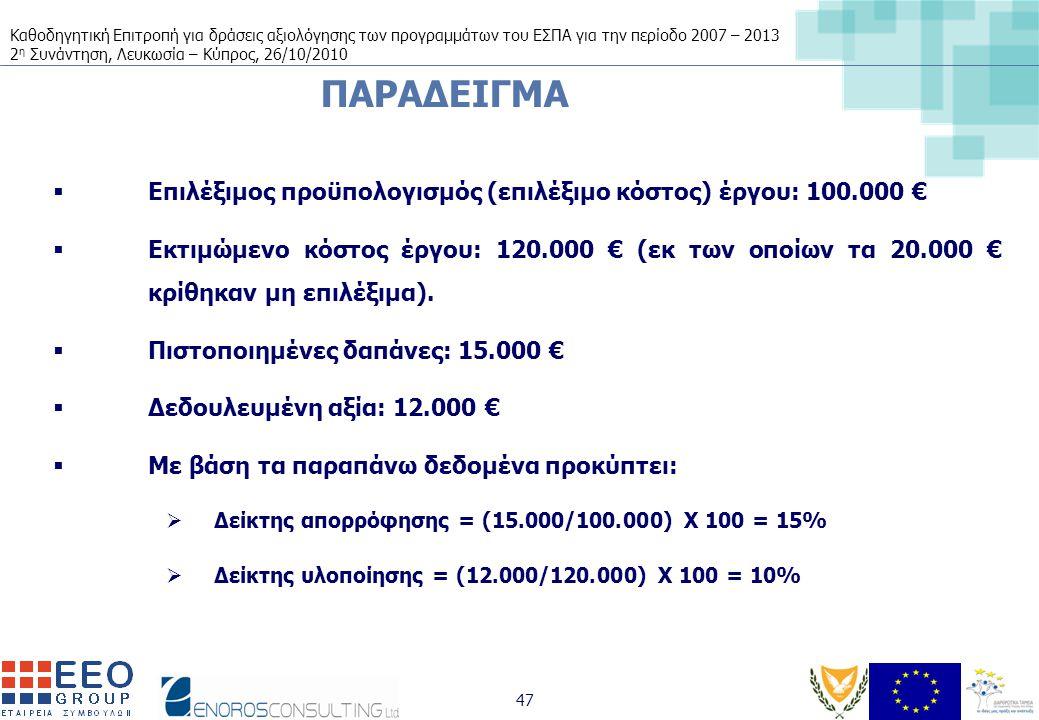 Καθοδηγητική Επιτροπή για δράσεις αξιολόγησης των προγραμμάτων του ΕΣΠΑ για την περίοδο 2007 – 2013 2 η Συνάντηση, Λευκωσία – Κύπρος, 26/10/2010 47 ΠΑΡΑΔΕΙΓΜΑ  Επιλέξιμος προϋπολογισμός (επιλέξιμο κόστος) έργου: 100.000 €  Εκτιμώμενο κόστος έργου: 120.000 € (εκ των οποίων τα 20.000 € κρίθηκαν μη επιλέξιμα).