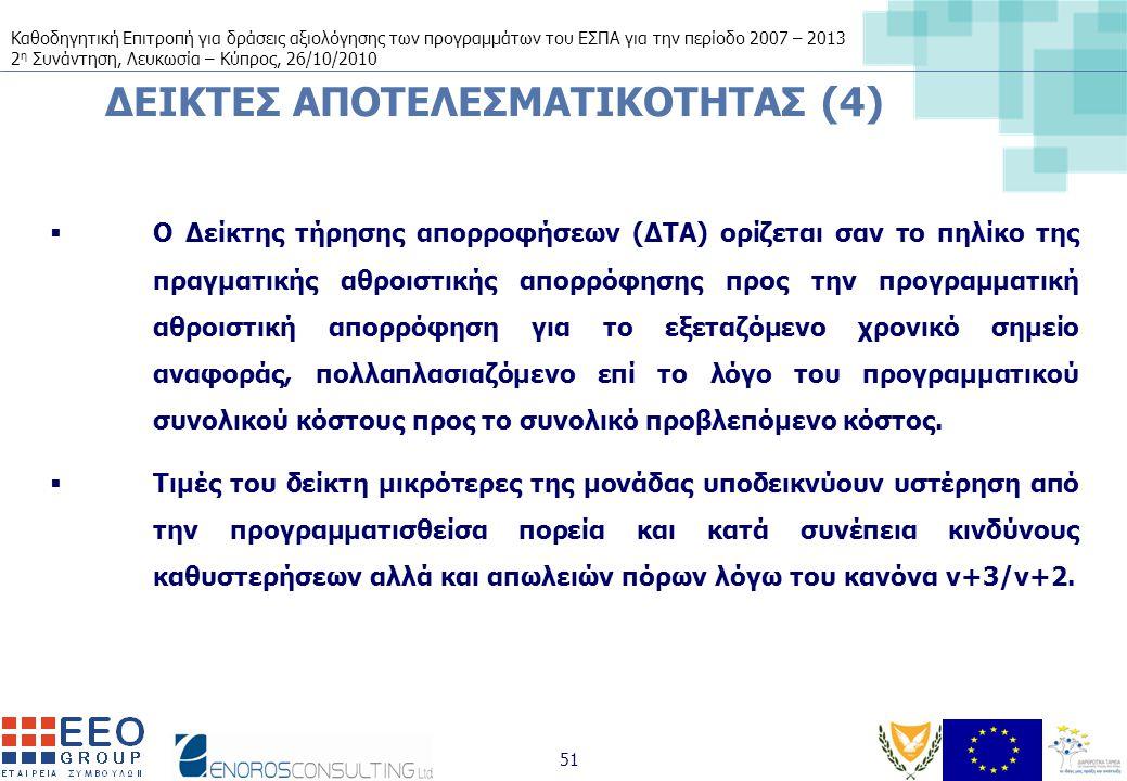 Καθοδηγητική Επιτροπή για δράσεις αξιολόγησης των προγραμμάτων του ΕΣΠΑ για την περίοδο 2007 – 2013 2 η Συνάντηση, Λευκωσία – Κύπρος, 26/10/2010 51 ΔΕΙΚΤΕΣ ΑΠΟΤΕΛΕΣΜΑΤΙΚΟΤΗΤΑΣ (4)  Ο Δείκτης τήρησης απορροφήσεων (ΔΤΑ) ορίζεται σαν το πηλίκο της πραγματικής αθροιστικής απορρόφησης προς την προγραμματική αθροιστική απορρόφηση για το εξεταζόμενο χρονικό σημείο αναφοράς, πολλαπλασιαζόμενο επί το λόγο του προγραμματικού συνολικού κόστους προς το συνολικό προβλεπόμενο κόστος.