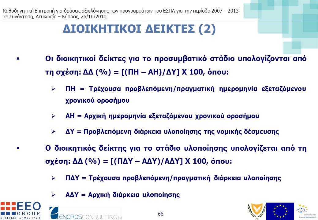 Καθοδηγητική Επιτροπή για δράσεις αξιολόγησης των προγραμμάτων του ΕΣΠΑ για την περίοδο 2007 – 2013 2 η Συνάντηση, Λευκωσία – Κύπρος, 26/10/2010 66 ΔΙΟΙΚΗΤΙΚΟΙ ΔΕΙΚΤΕΣ (2)  Οι διοικητικοί δείκτες για το προσυμβατικό στάδιο υπολογίζονται από τη σχέση: ΔΔ (%) = [(ΠΗ – ΑΗ)/ΔΥ] Χ 100, όπου:  ΠΗ = Τρέχουσα προβλεπόμενη/πραγματική ημερομηνία εξεταζόμενου χρονικού οροσήμου  ΑΗ = Αρχική ημερομηνία εξεταζόμενου χρονικού οροσήμου  ΔΥ = Προβλεπόμενη διάρκεια υλοποίησης της νομικής δέσμευσης  Ο διοικητικός δείκτης για το στάδιο υλοποίησης υπολογίζεται από τη σχέση: ΔΔ (%) = [(ΠΔΥ – ΑΔΥ)/ΑΔΥ] Χ 100, όπου:  ΠΔΥ = Τρέχουσα προβλεπόμενη/πραγματική διάρκεια υλοποίησης  ΑΔΥ = Αρχική διάρκεια υλοποίησης