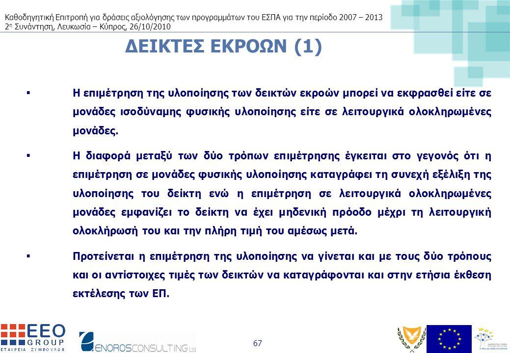 Καθοδηγητική Επιτροπή για δράσεις αξιολόγησης των προγραμμάτων του ΕΣΠΑ για την περίοδο 2007 – 2013 2 η Συνάντηση, Λευκωσία – Κύπρος, 26/10/2010 67 ΔΕΙΚΤΕΣ ΕΚΡΟΩΝ (1)  Η επιμέτρηση της υλοποίησης των δεικτών εκροών μπορεί να εκφρασθεί είτε σε μονάδες ισοδύναμης φυσικής υλοποίησης είτε σε λειτουργικά ολοκληρωμένες μονάδες.