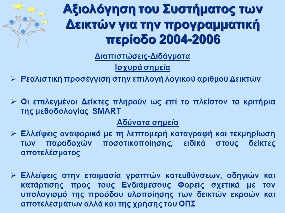 Αξιολόγηση του Συστήματος των Δεικτών για την προγραμματική περίοδο 2004-2006 Αξιοποίηση των Αποτελεσμάτων της περιόδου 2004-2006 Το Γραφείο Προγραμματισμού έχει ήδη εφαρμόσει τις ακόλουθες διορθωτικές ενέργειες:  Βελτίωση της συλλογής δεδομένων και της τεκμηρίωσης σχετικά με την ποσοτικοποίηση των δεικτών  Αναβάθμιση του ΟΠΣ, με την προσθήκη μιας νέας ενότητας για την παρακολούθηση των δεικτών  Εκπόνηση της παρούσας μελέτης, για αντιμετώπιση των όποιων υφιστάμενων αδυναμιών