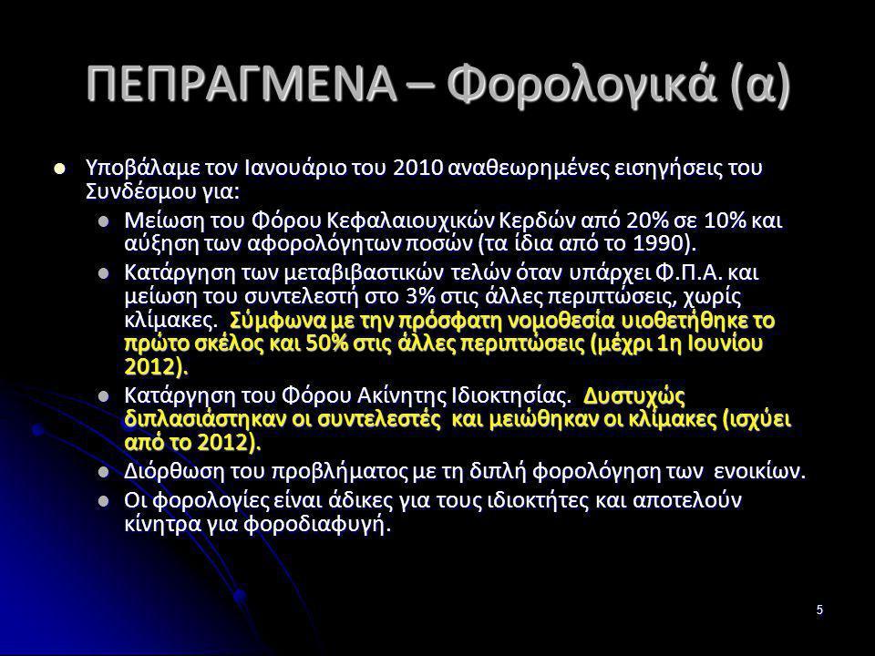 5 ΠΕΠΡΑΓΜΕΝΑ – Φορολογικά (α) Υποβάλαμε τον Ιανουάριο του 2010 αναθεωρημένες εισηγήσεις του Συνδέσμου για: Υποβάλαμε τον Ιανουάριο του 2010 αναθεωρημέ