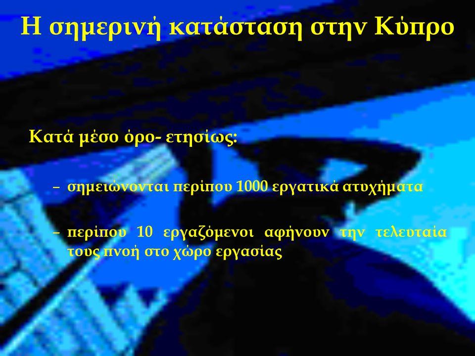 Η σημερινή κατάσταση στην Κύπρο Κατά μέσο όρο- ετησίως: – σημειώνονται περίπου 1000 εργατικά ατυχήματα – περίπου 10 εργαζόμενοι αφήνουν την τελευταία τους πνοή στο χώρο εργασίας