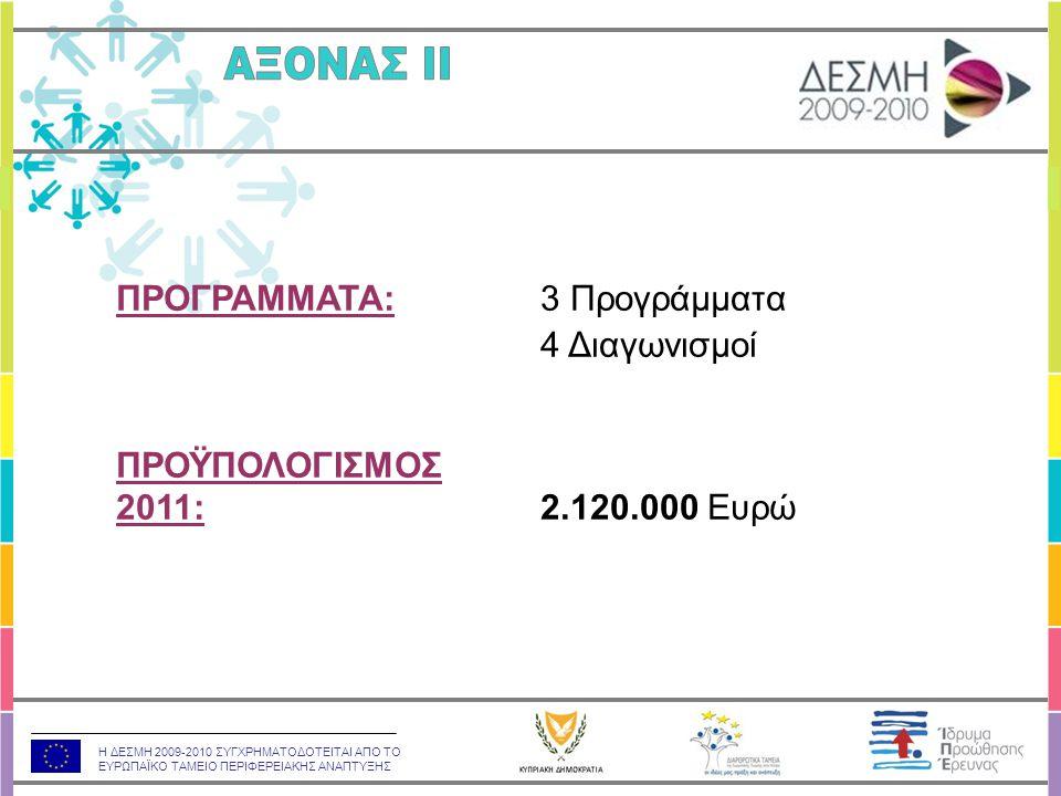 Η ΔΕΣΜΗ 2009-2010 ΣΥΓΧΡΗΜΑΤΟΔΟΤΕΙΤΑΙ ΑΠΟ ΤΟ ΕΥΡΩΠΑΪΚΟ ΤΑΜΕΙΟ ΠΕΡΙΦΕΡΕΙΑΚΗΣ ΑΝΑΠΤΥΞΗΣ ΠΡΟΓΡΑΜΜΑΤΑ:3 Προγράμματα 4 Διαγωνισμοί ΠΡΟΫΠΟΛΟΓΙΣΜΟΣ 2011:2.120.000 Ευρώ