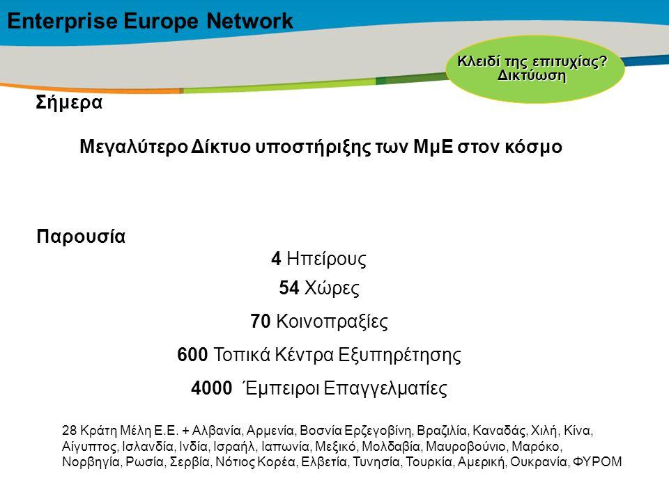 Title of the presentation | Date |‹#› Σήμερα Μεγαλύτερο Δίκτυο υποστήριξης των ΜμΕ στον κόσμο Παρουσία 4 Ηπείρους 54 Χώρες 70 Κοινοπραξίες 600 Τοπικά
