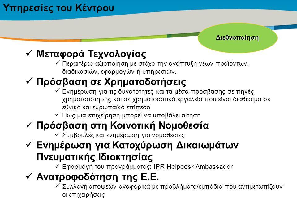 Title of the presentation | Date |‹#› Υπηρεσίες του Κέντρου Μεταφορά Τεχνολογίας Περαιτέρω αξιοποίηση με στόχο την ανάπτυξη νέων προϊόντων, διαδικασιώ