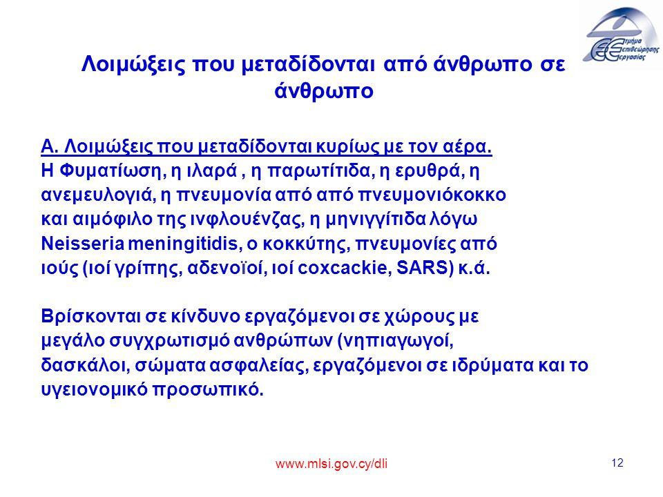 www.mlsi.gov.cy/dli 12 Λοιμώξεις που μεταδίδονται από άνθρωπο σε άνθρωπο Α. Λοιμώξεις που μεταδίδονται κυρίως με τον αέρα. Η Φυματίωση, η ιλαρά, η παρ