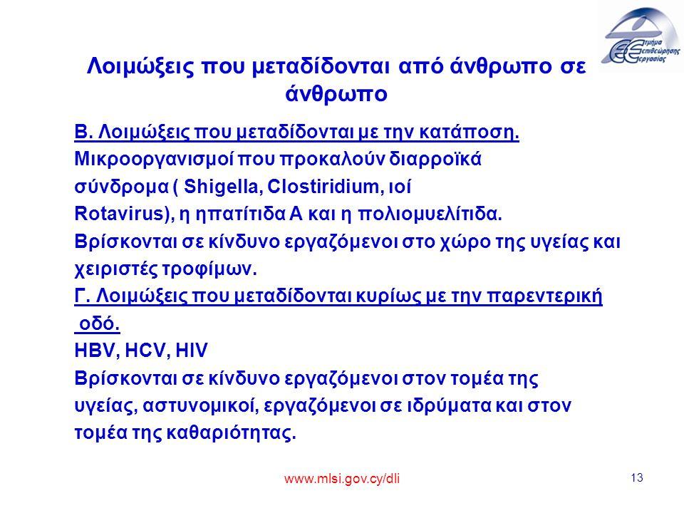 www.mlsi.gov.cy/dli 13 Λοιμώξεις που μεταδίδονται από άνθρωπο σε άνθρωπο Β. Λοιμώξεις που μεταδίδονται με την κατάποση. Μικροοργανισμοί που προκαλούν