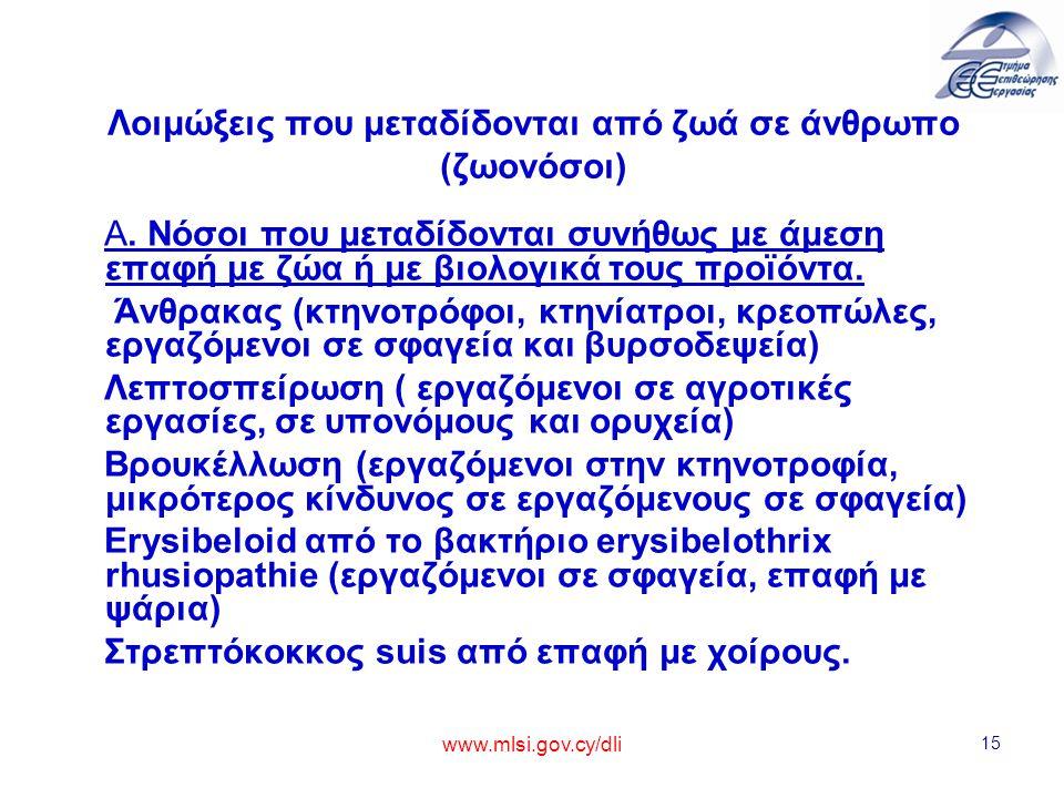 www.mlsi.gov.cy/dli 15 Λοιμώξεις που μεταδίδονται από ζωά σε άνθρωπο (ζωονόσοι) Α. Νόσοι που μεταδίδονται συνήθως με άμεση επαφή με ζώα ή με βιολογικά