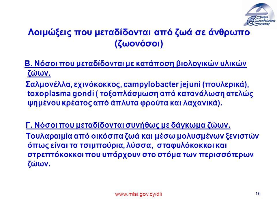 www.mlsi.gov.cy/dli 16 Λοιμώξεις που μεταδίδονται από ζωά σε άνθρωπο (ζωονόσοι) Β. Νόσοι που μεταδίδονται με κατάποση βιολογικών υλικών ζώων. Σαλμονέλ
