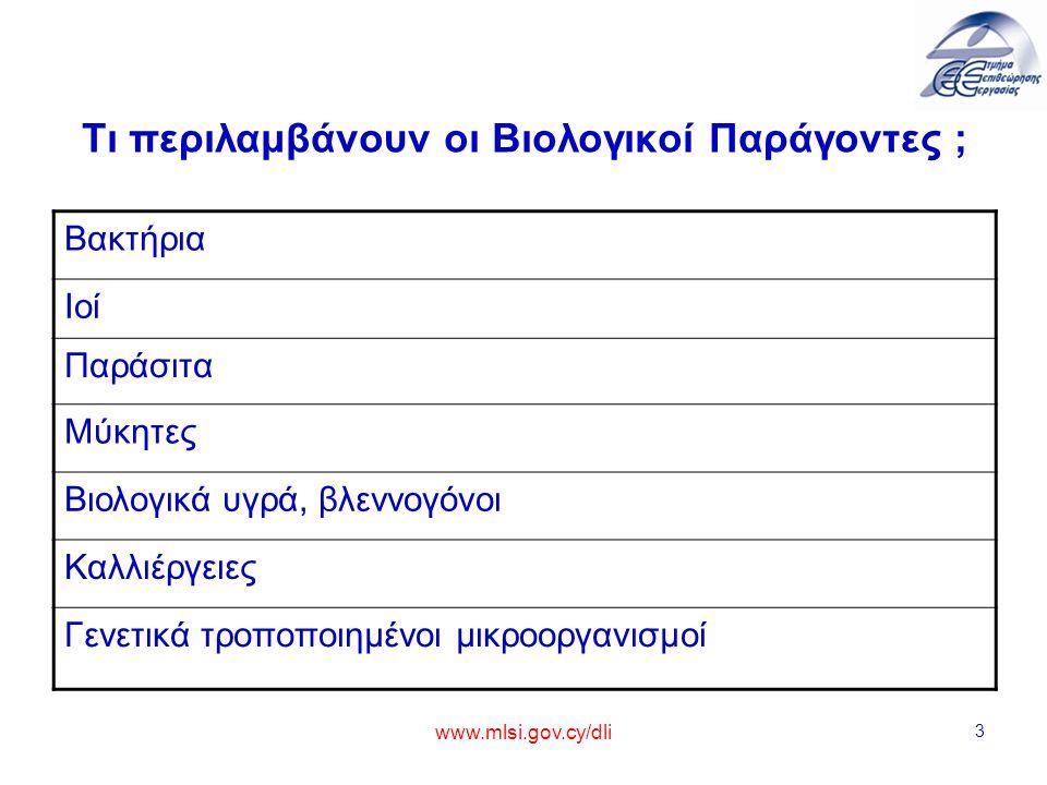 www.mlsi.gov.cy/dli 3 Τι περιλαμβάνουν οι Βιολογικοί Παράγοντες ; Βακτήρια Ιοί Παράσιτα Μύκητες Βιολογικά υγρά, βλεννογόνοι Καλλιέργειες Γενετικά τροπ