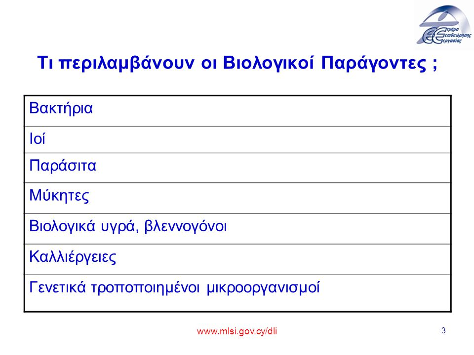 www.mlsi.gov.cy/dli 4 Τι περιλαμβάνουν οι Βιολογικοί Παράγοντες ; – –Βακτήρια: Μονοκύτταροι μικροοργανισμοί που δεν διαθέτουν πραγματικό πυρήνα (προκαρυωτικά).
