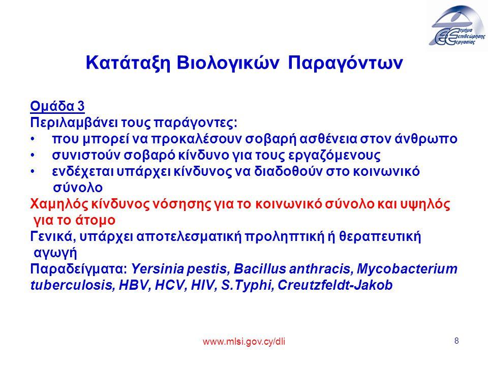 www.mlsi.gov.cy/dli 9 Κατάταξη Βιολογικών Παραγόντων Ομάδα 4 Περιλαμβάνει τους παράγοντες: που προκαλούν σοβαρή ασθένεια στον άνθρωπο συνιστούν σοβαρό κίνδυνο για τους εργαζόμενους, ενδέχεται να παρουσιάζουν υψηλό κίνδυνο διάδοσης στο κοινωνικό σύνολο Εξαιρετικά υψηλός κίνδυνος νόσησης για το κοινωνικό σύνολο και για το άτομο Δεν υπάρχει αποτελεσματική προληπτική ή θεραπευτική αγωγή Παραδείγματα: ιοί Marburg, Ebola και αιμορραγικού πυρετού Κονγκό/Κριμαίας