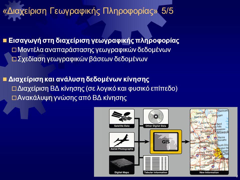 9 Εισαγωγή στη διαχείριση γεωγραφικής πληροφορίας  Μοντέλα αναπαράστασης γεωγραφικών δεδομένων  Σχεδίαση γεωγραφικών βάσεων δεδομένων Διαχείριση και