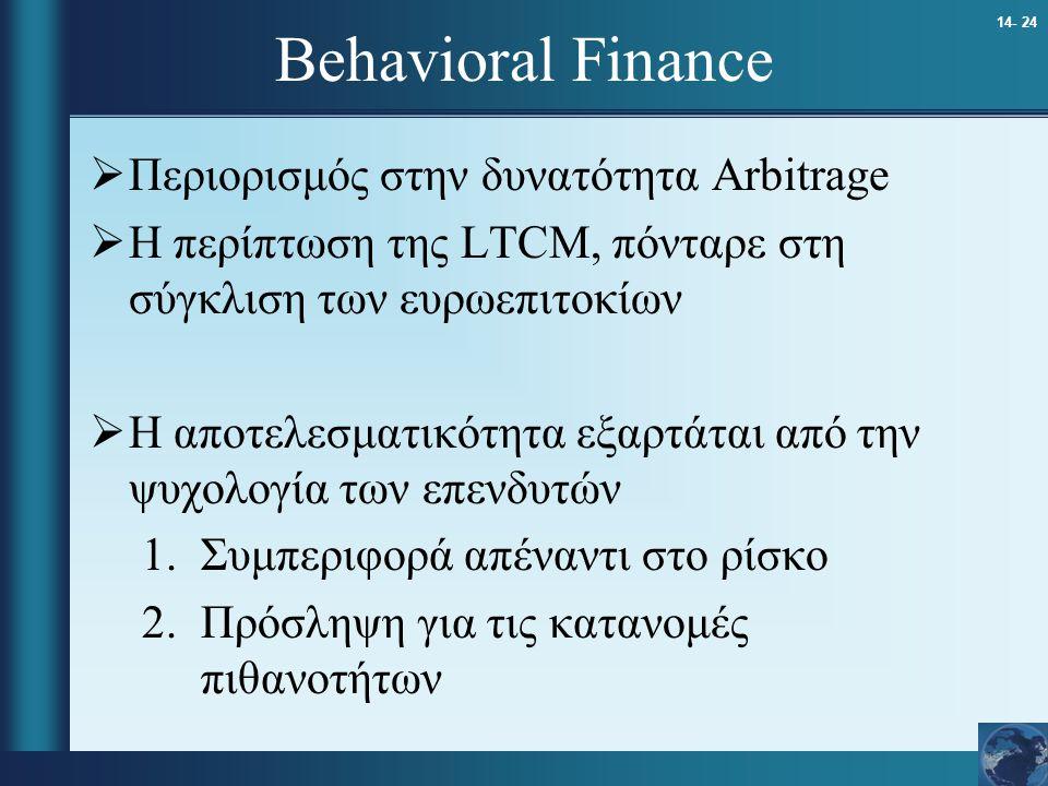 14- 24 Behavioral Finance  Περιορισμός στην δυνατότητα Arbitrage  Η περίπτωση της LTCM, πόνταρε στη σύγκλιση των ευρωεπιτοκίων  Η αποτελεσματικότητ
