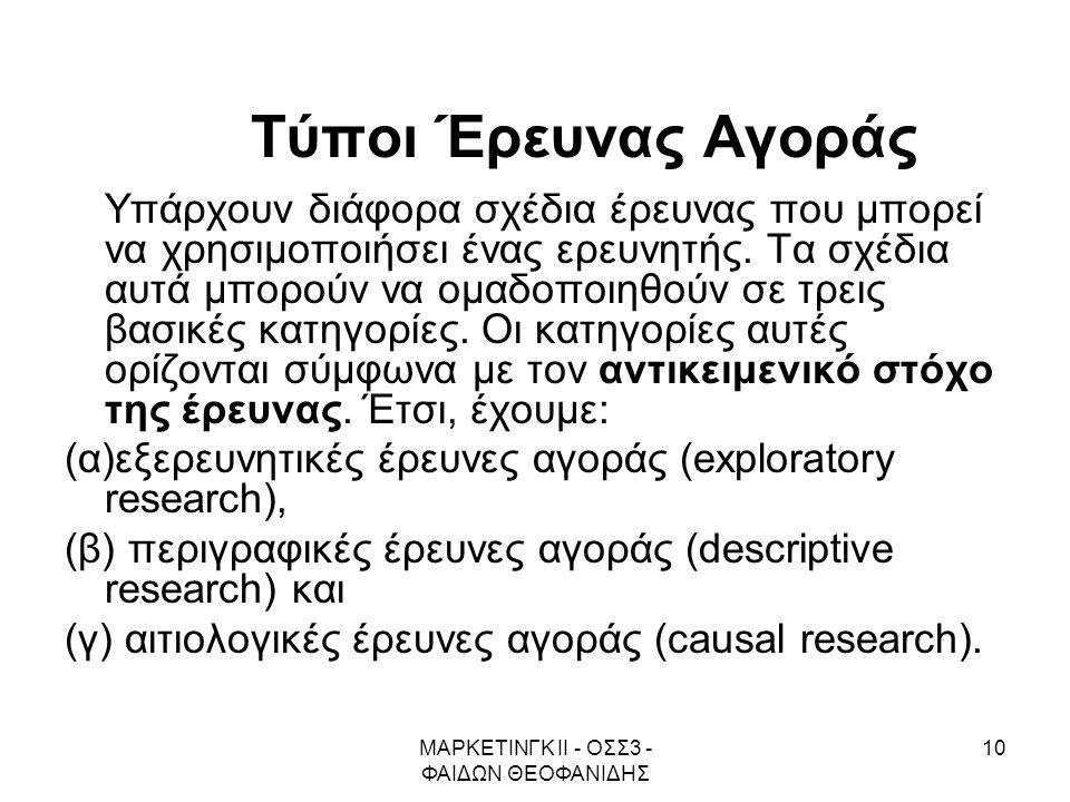 ΜΑΡΚΕΤΙΝΓΚ ΙΙ - ΟΣΣ3 - ΦΑΙΔΩΝ ΘΕΟΦΑΝΙΔΗΣ 10 Τύποι Έρευνας Αγοράς Υπάρχουν διάφορα σχέδια έρευνας που μπορεί να χρησιμοποιήσει ένας ερευνητής. Τα σχέδι