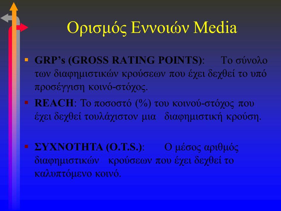 Ορισμός Εννοιών Media  GRP's (GROSS RATING POINTS):Το σύνολο των διαφημιστικών κρούσεων που έχει δεχθεί το υπό προσέγγιση κοινό-στόχος.  REACH:Το πο