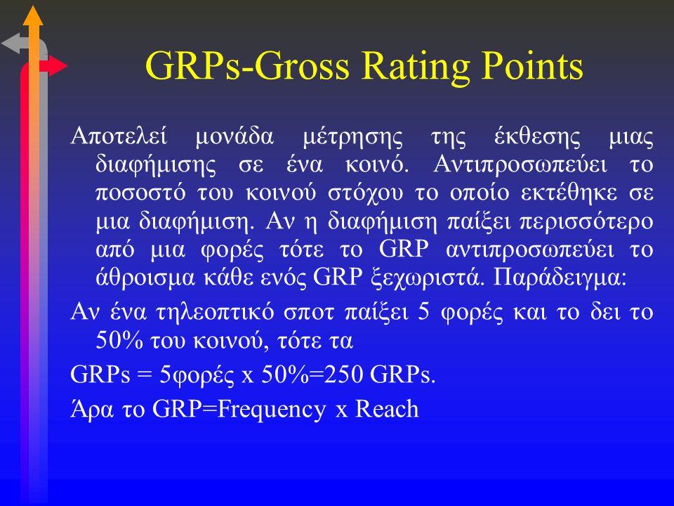 GRPs-Gross Rating Points Αποτελεί μονάδα μέτρησης της έκθεσης μιας διαφήμισης σε ένα κοινό. Αντιπροσωπεύει το ποσοστό του κοινού στόχου το οποίο εκτέθ