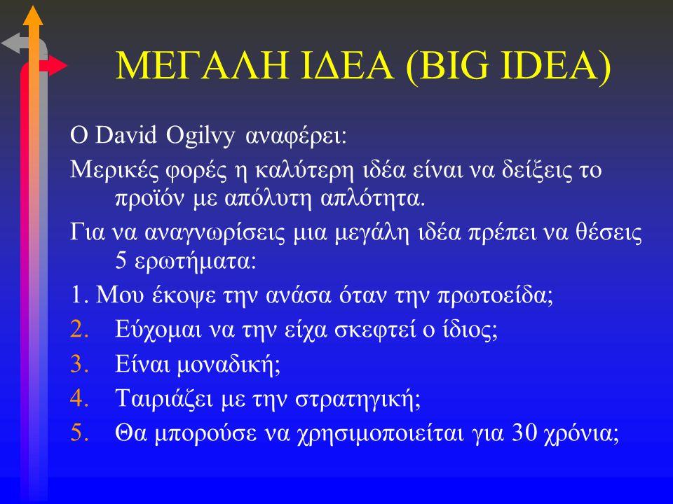 ΜΕΓΑΛΗ ΙΔΕΑ (BIG IDEA) O David Ogilvy αναφέρει: Μερικές φορές η καλύτερη ιδέα είναι να δείξεις το προϊόν με απόλυτη απλότητα. Για να αναγνωρίσεις μια