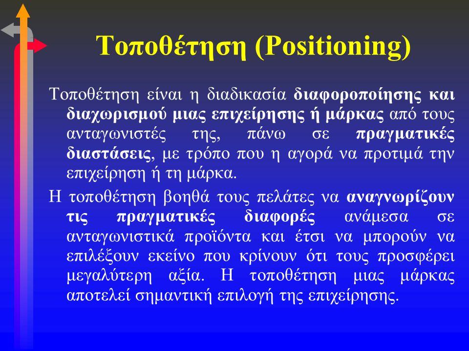 Τοποθέτηση (Positioning) Τοποθέτηση είναι η διαδικασία διαφοροποίησης και διαχωρισμού μιας επιχείρησης ή μάρκας από τους ανταγωνιστές της, πάνω σε πρα