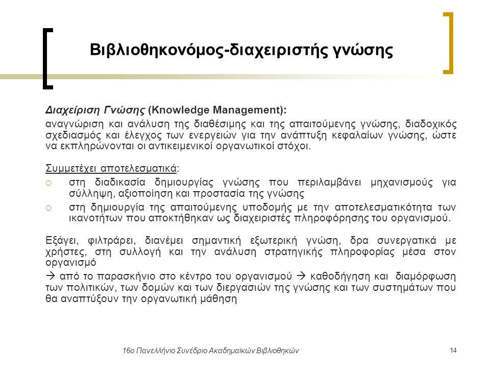 14 16ο Πανελλήνιο Συνέδριο Ακαδημαϊκών Βιβλιοθηκών Βιβλιοθηκονόμος-διαχειριστής γνώσης Διαχείριση Γνώσης (Knowledge Management): αναγνώριση και ανάλυσ
