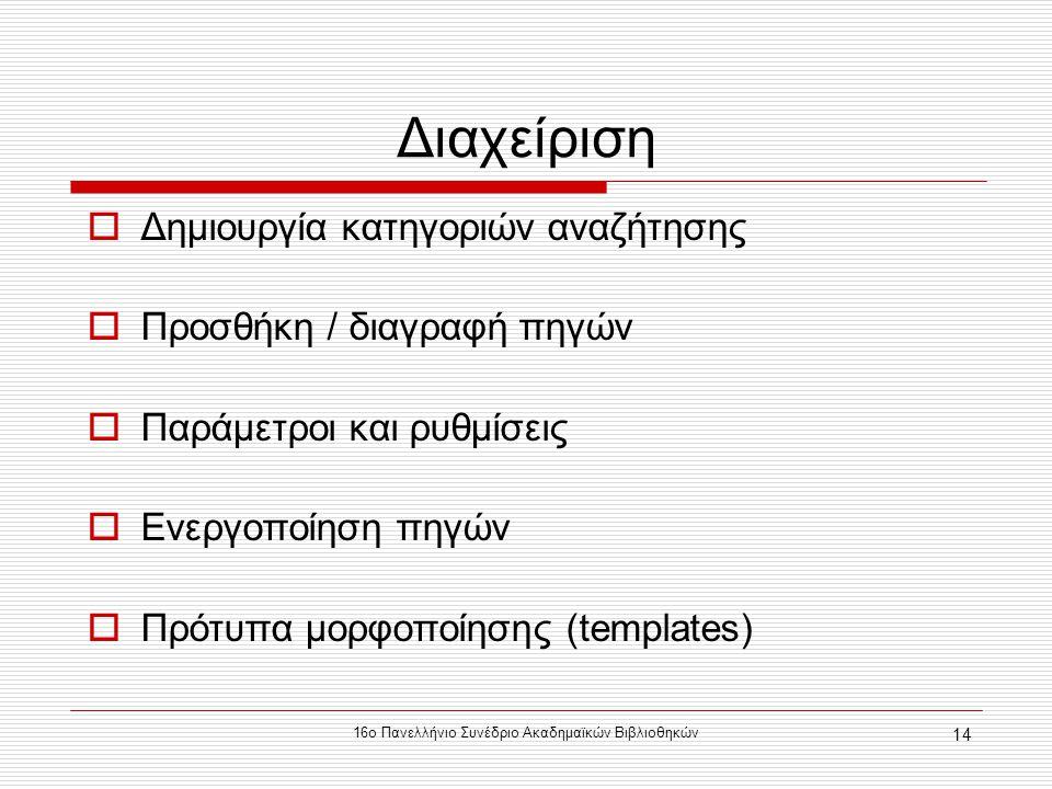 16ο Πανελλήνιο Συνέδριο Ακαδημαϊκών Βιβλιοθηκών 14 Διαχείριση  Δημιουργία κατηγοριών αναζήτησης  Προσθήκη / διαγραφή πηγών  Παράμετροι και ρυθμίσεις  Ενεργοποίηση πηγών  Πρότυπα μορφοποίησης (templates)