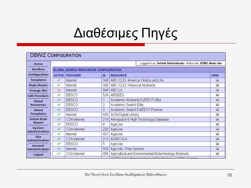 16ο Πανελλήνιο Συνέδριο Ακαδημαϊκών Βιβλιοθηκών 16 Διαθέσιμες Πηγές