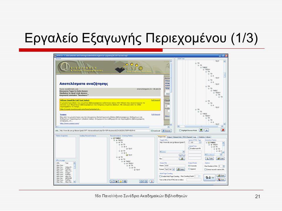 16ο Πανελλήνιο Συνέδριο Ακαδημαϊκών Βιβλιοθηκών 21 Εργαλείο Εξαγωγής Περιεχομένου (1/3)