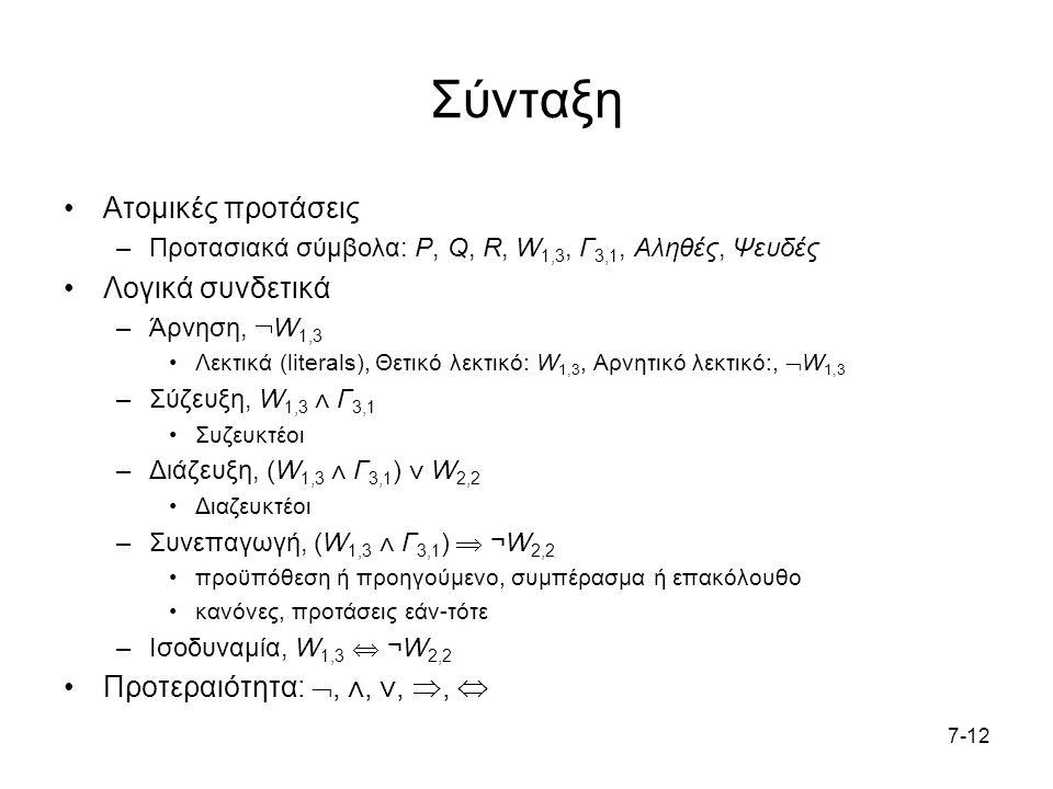 7-12 Σύνταξη Ατομικές προτάσεις –Προτασιακά σύμβολα: P, Q, R, W 1,3, Γ 3,1, Αληθές, Ψευδές Λογικά συνδετικά –Άρνηση,  W 1,3 Λεκτικά (literals), Θετικό λεκτικό: W 1,3, Αρνητικό λεκτικό:,  W 1,3 –Σύζευξη, W 1,3 ⋀ Γ 3,1 Συζευκτέοι –Διάζευξη, (W 1,3 ⋀ Γ 3,1 ) ⋁ W 2,2 Διαζευκτέοι –Συνεπαγωγή, (W 1,3 ⋀ Γ 3,1 )  ¬W 2,2 προϋπόθεση ή προηγούμενο, συμπέρασμα ή επακόλουθο κανόνες, προτάσεις εάν-τότε –Ισοδυναμία, W 1,3  ¬W 2,2 Προτεραιότητα: , ⋀, ⋁, , 