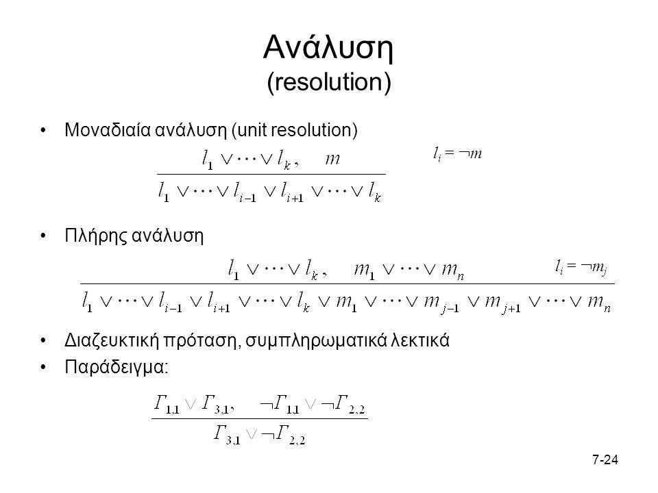 7-24 Ανάλυση (resolution) Μοναδιαία ανάλυση (unit resolution) Πλήρης ανάλυση Διαζευκτική πρόταση, συμπληρωματικά λεκτικά Παράδειγμα: l i =  m l i =  m j