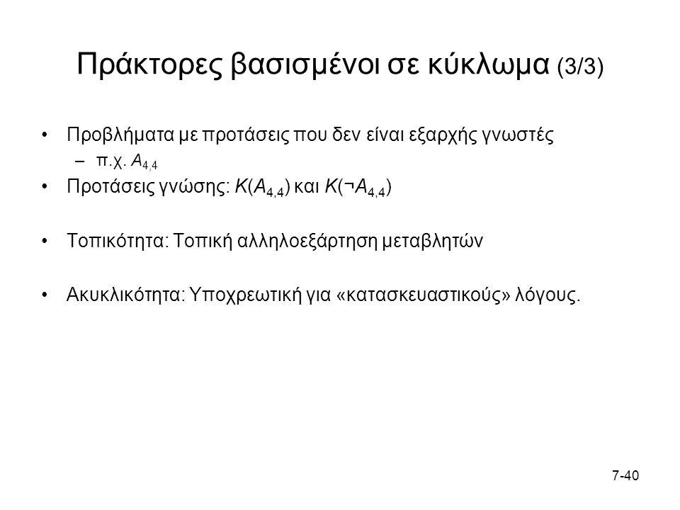 7-40 Πράκτορες βασισμένοι σε κύκλωμα (3/3) Προβλήματα με προτάσεις που δεν είναι εξαρχής γνωστές –π.χ.