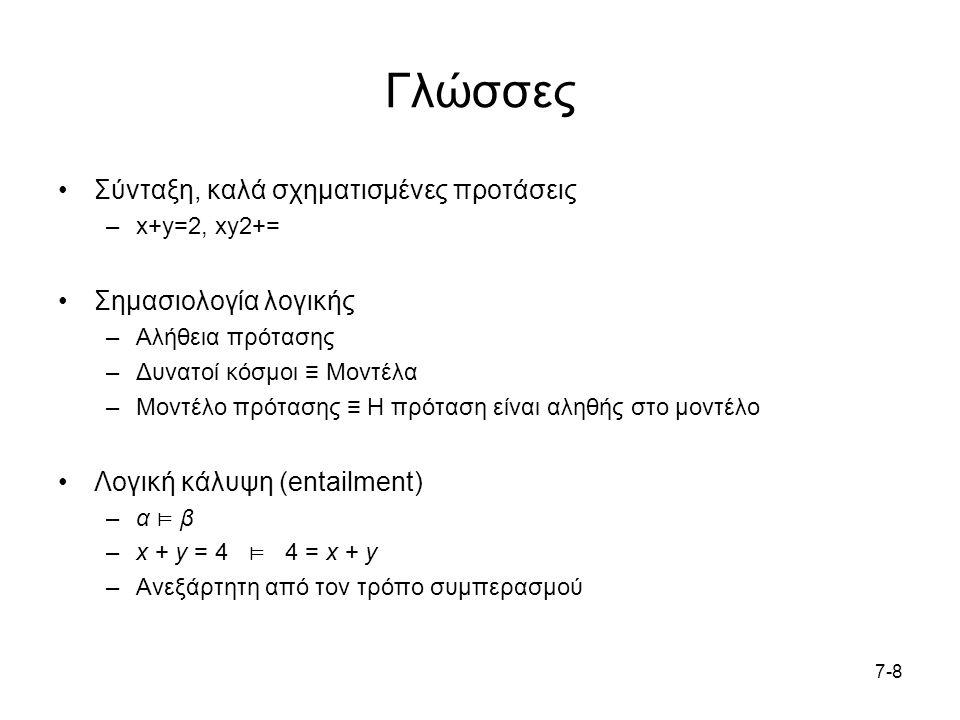 7-87-8 Γλώσσες Σύνταξη, καλά σχηματισμένες προτάσεις –x+y=2, xy2+= Σημασιολογία λογικής –Αλήθεια πρότασης –Δυνατοί κόσμοι ≡ Μοντέλα –Μοντέλο πρότασης ≡ Η πρόταση είναι αληθής στο μοντέλο Λογική κάλυψη (entailment) –α ⊨ β –x + y = 4 ⊨ 4 = x + y –Ανεξάρτητη από τον τρόπο συμπερασμού