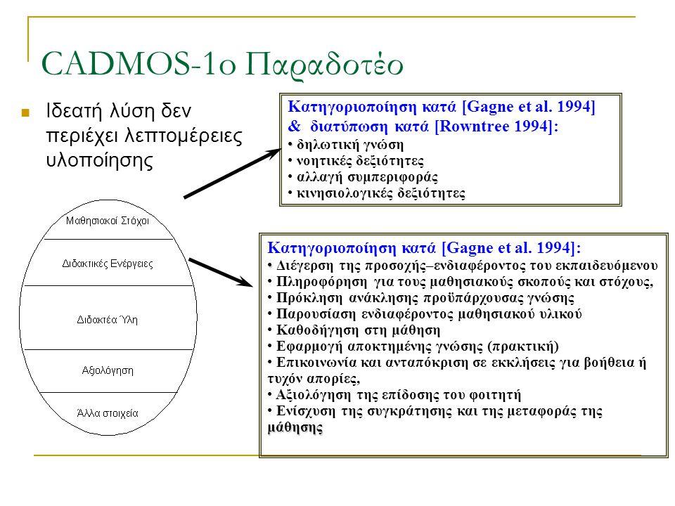 CADMOS-1o Παραδοτέο Ιδεατή λύση δεν περιέχει λεπτομέρειες υλοποίησης Κατηγοριοποίηση κατά [Gagne et al.
