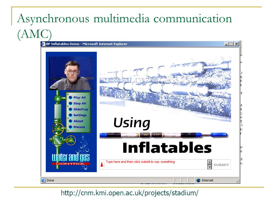 http://cnm.kmi.open.ac.uk/projects/stadium/ Asynchronous multimedia communication (AMC)