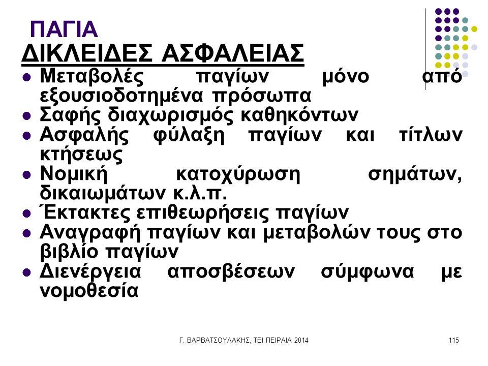 Γ. ΒΑΡΒΑΤΣΟΥΛΑΚΗΣ, ΤΕΙ ΠΕΙΡΑΙΑ 2014115 ΠΑΓΙΑ ΔΙΚΛΕΙΔΕΣ ΑΣΦΑΛΕΙΑΣ Μεταβολές παγίων μόνο από εξουσιοδοτημένα πρόσωπα Σαφής διαχωρισμός καθηκόντων Ασφαλή