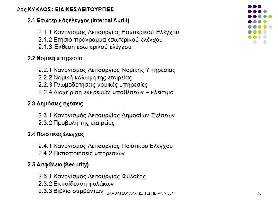 Γ. ΒΑΡΒΑΤΣΟΥΛΑΚΗΣ, ΤΕΙ ΠΕΙΡΑΙΑ 201416 2ος ΚΥΚΛΟΣ : ΕΙΔΙΚΕΣ ΛΕΙΤΟΥΡΓΙΕΣ 2.1 Εσωτερικός έλεγχος (Ιnternal Αudit) 2.1.1 Κανονισμός Λειτουργίας Εσωτερικού