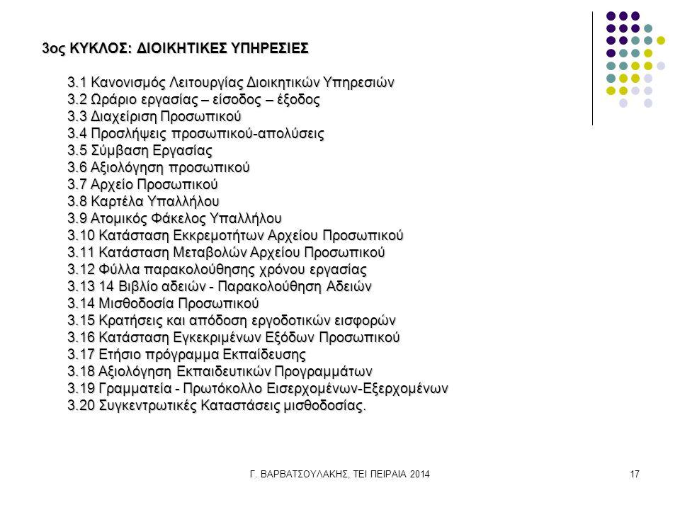 Γ. ΒΑΡΒΑΤΣΟΥΛΑΚΗΣ, ΤΕΙ ΠΕΙΡΑΙΑ 201417 3ος ΚΥΚΛΟΣ: ΔΙΟΙΚΗΤΙΚΕΣ ΥΠΗΡΕΣΙΕΣ 3.1 Κανονισμός Λειτουργίας Διοικητικών Υπηρεσιών 3.2 Ωράριο εργασίας – είσοδος