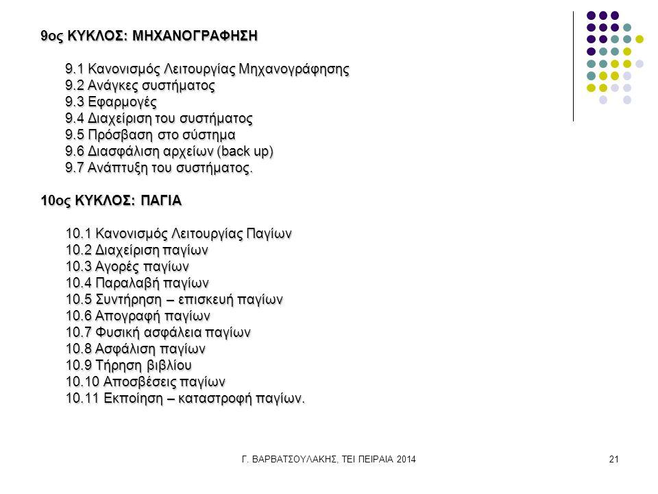 Γ. ΒΑΡΒΑΤΣΟΥΛΑΚΗΣ, ΤΕΙ ΠΕΙΡΑΙΑ 201421 9ος ΚΥΚΛΟΣ: ΜΗΧΑΝΟΓΡΑΦΗΣΗ 9.1 Κανονισμός Λειτουργίας Μηχανογράφησης 9.2 Ανάγκες συστήματος 9.3 Εφαρμογές 9.4 Δια