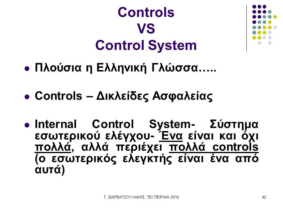 Γ. ΒΑΡΒΑΤΣΟΥΛΑΚΗΣ, ΤΕΙ ΠΕΙΡΑΙΑ 201442 Controls VS Control System Πλούσια η Ελληνική Γλώσσα….. Controls – Δικλείδες Ασφαλείας Internal Control System-