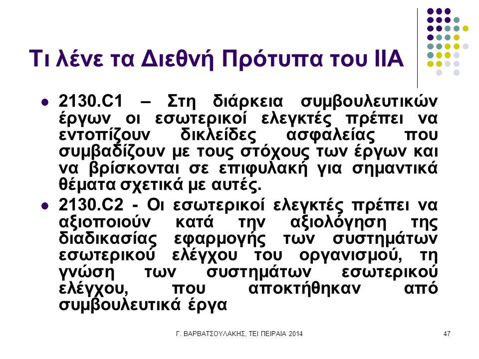 Γ. ΒΑΡΒΑΤΣΟΥΛΑΚΗΣ, ΤΕΙ ΠΕΙΡΑΙΑ 201447 Τι λένε τα Διεθνή Πρότυπα του IIA 2130.C1 – Στη διάρκεια συμβουλευτικών έργων οι εσωτερικοί ελεγκτές πρέπει να ε