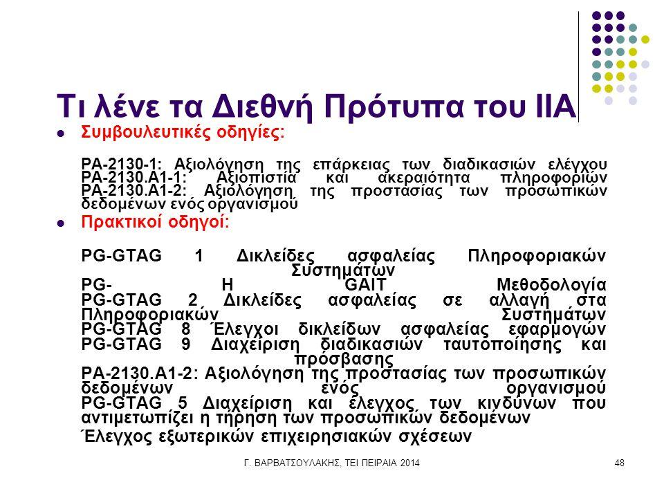 Γ. ΒΑΡΒΑΤΣΟΥΛΑΚΗΣ, ΤΕΙ ΠΕΙΡΑΙΑ 201448 Τι λένε τα Διεθνή Πρότυπα του IIA Συμβουλευτικές οδηγίες: PA-2130-1: Αξιολόγηση της επάρκειας των διαδικασιών ελ