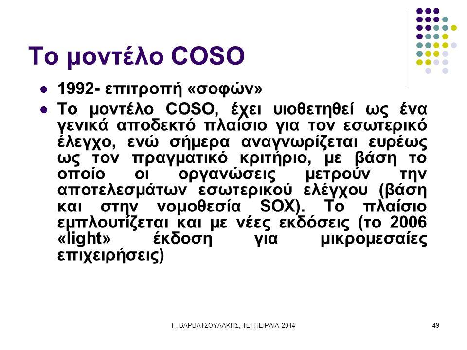 Γ. ΒΑΡΒΑΤΣΟΥΛΑΚΗΣ, ΤΕΙ ΠΕΙΡΑΙΑ 201449 Το μοντέλο COSO 1992- επιτροπή «σοφών» Το μοντέλο COSO, έχει υιοθετηθεί ως ένα γενικά αποδεκτό πλαίσιο για τον ε