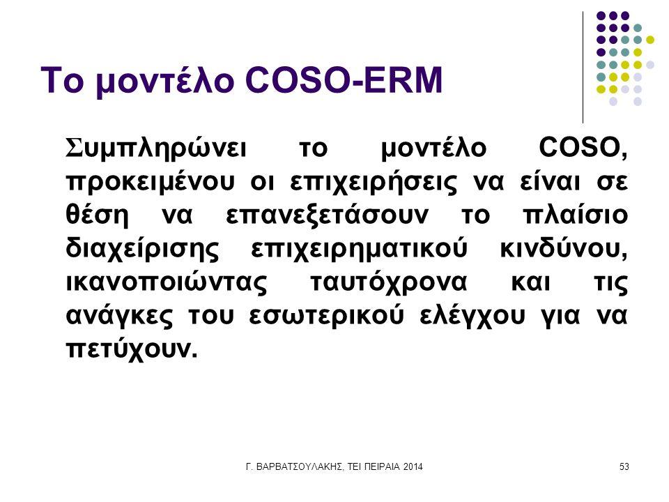 Γ. ΒΑΡΒΑΤΣΟΥΛΑΚΗΣ, ΤΕΙ ΠΕΙΡΑΙΑ 201453 Το μοντέλο COSO-ERM Συμπληρώνει το μοντέλο COSO, προκειμένου οι επιχειρήσεις να είναι σε θέση να επανεξετάσουν τ