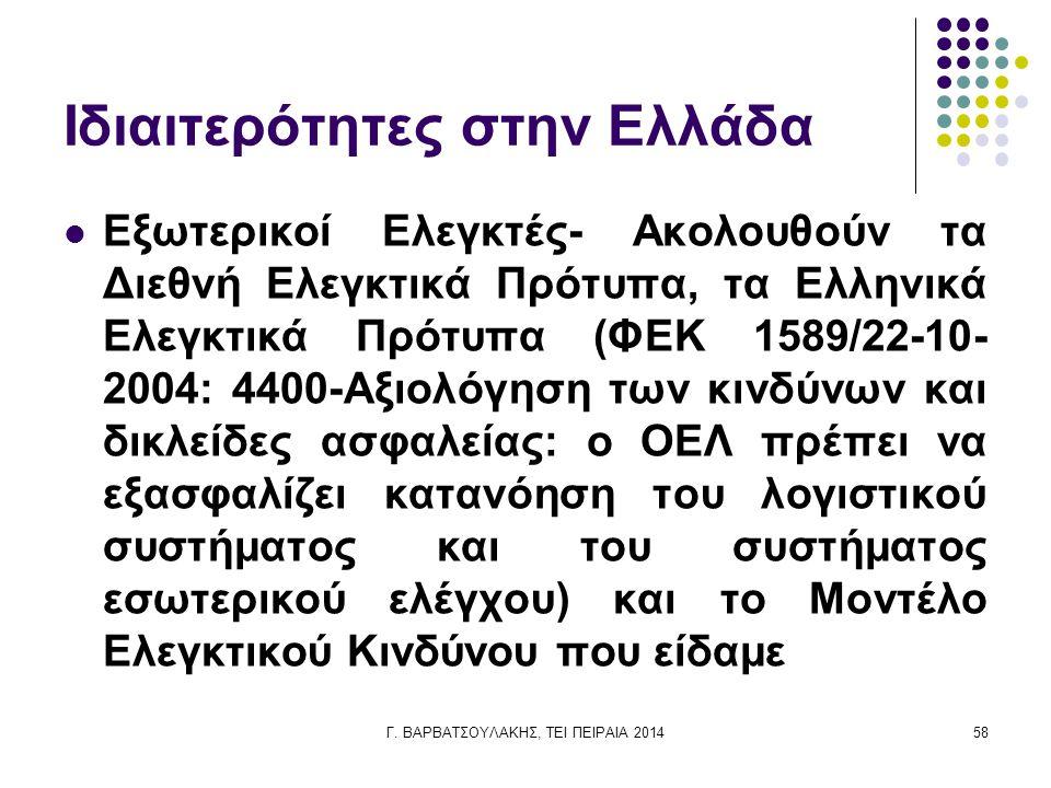 Γ. ΒΑΡΒΑΤΣΟΥΛΑΚΗΣ, ΤΕΙ ΠΕΙΡΑΙΑ 201458 Ιδιαιτερότητες στην Ελλάδα Εξωτερικοί Ελεγκτές- Ακολουθούν τα Διεθνή Ελεγκτικά Πρότυπα, τα Ελληνικά Ελεγκτικά Πρ
